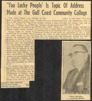 You Lucky People' Is Topic Of Address Made at The Gulf Coast Community College